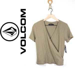 NWT Volcom Softest Cross-Front Dusty Green Top